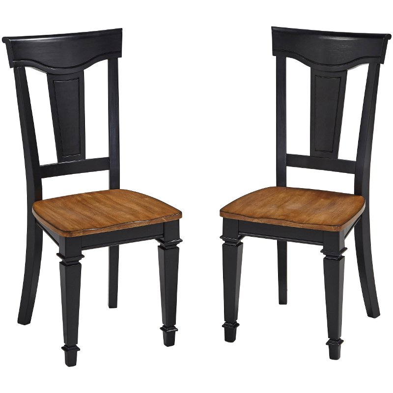 Set of 2 Black Dining Chairs - Americana Americana Home Furniture on tropical home furniture, metal home furniture, traditional furniture, primitive home furniture, 1950s home furniture, amish home furniture, roots home furniture, contemporary home furniture, western home furniture, urban home furniture, victorian home furniture, pop home furniture, country home furniture, early american furniture, nautical home furniture, youth bedroom furniture, french country style furniture,
