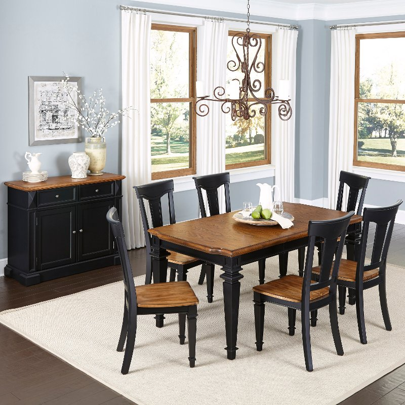 Dining Room Sets Black: Americana Black 7-Piece Dining Set And Buffet