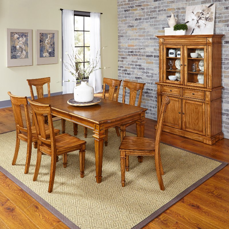 Americana oak 7 piece dining set with buffet and hutch for Dining room set with hutch