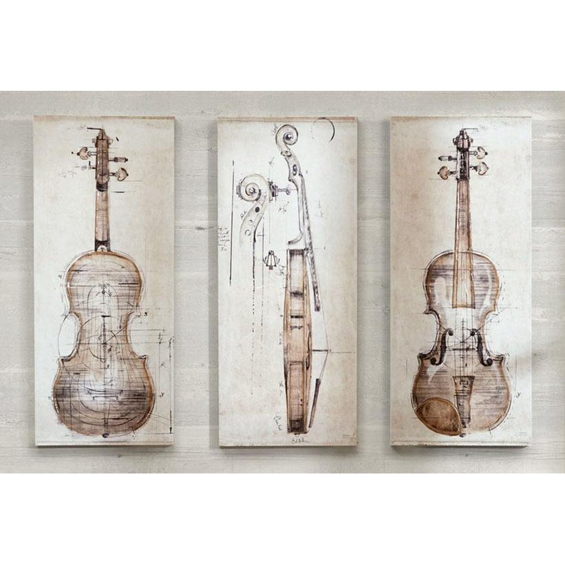 Neutral Violin Study Canvas Wall Art-Set of 3 | RC Willey Furniture ...