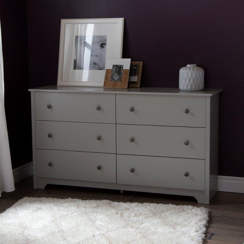detailed look e76de 5daea Soft Gray 6-Drawer Double Dresser - Vito