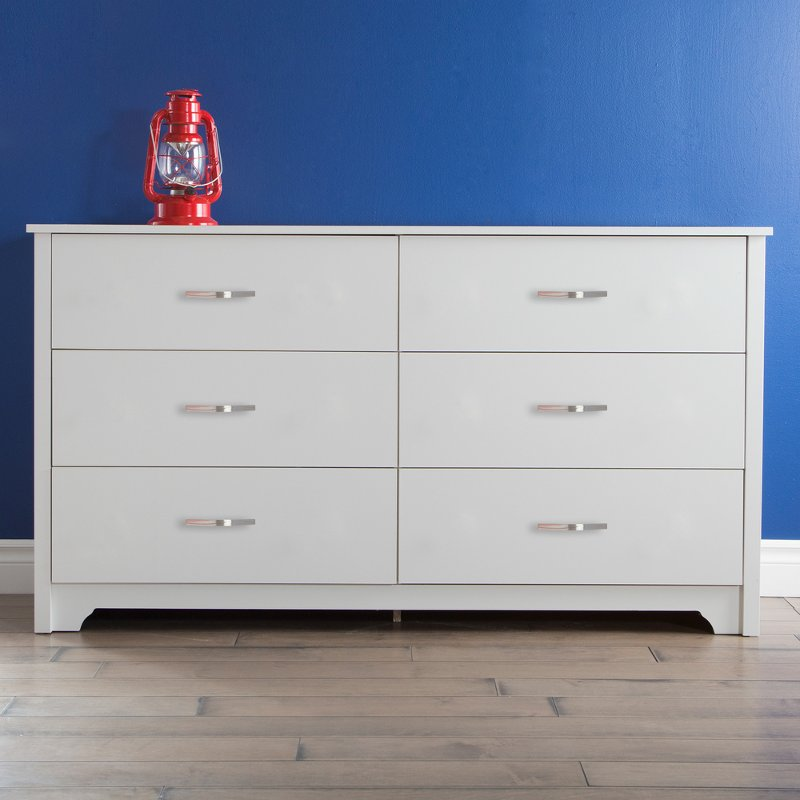 White 6 Drawer Double Dresser Fusion