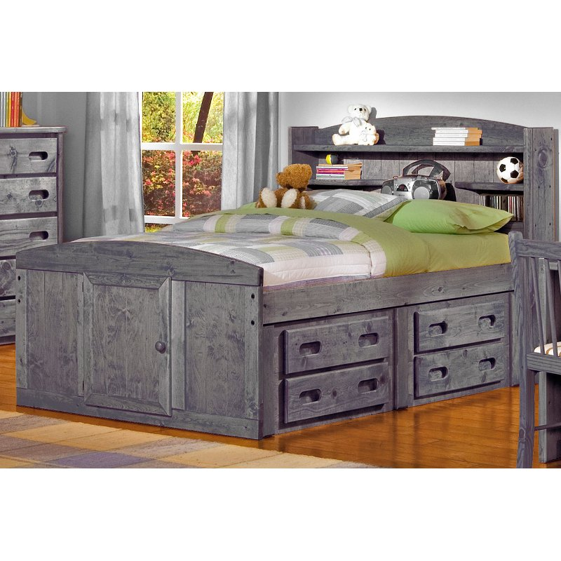 Driftwood Rustic Full Storage Bed With