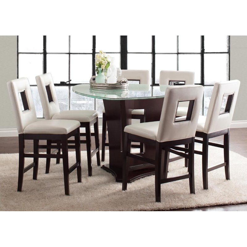 Soho espresso 7 piece counter height dining set for Counter height dining set