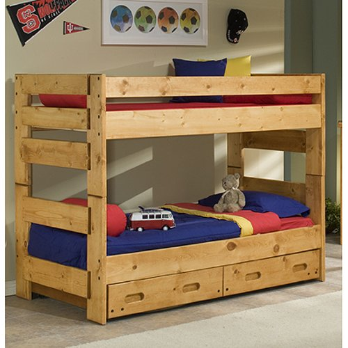 Cinnamon Rustic Pine Twin Over Twin Bunk Bed With Trundle