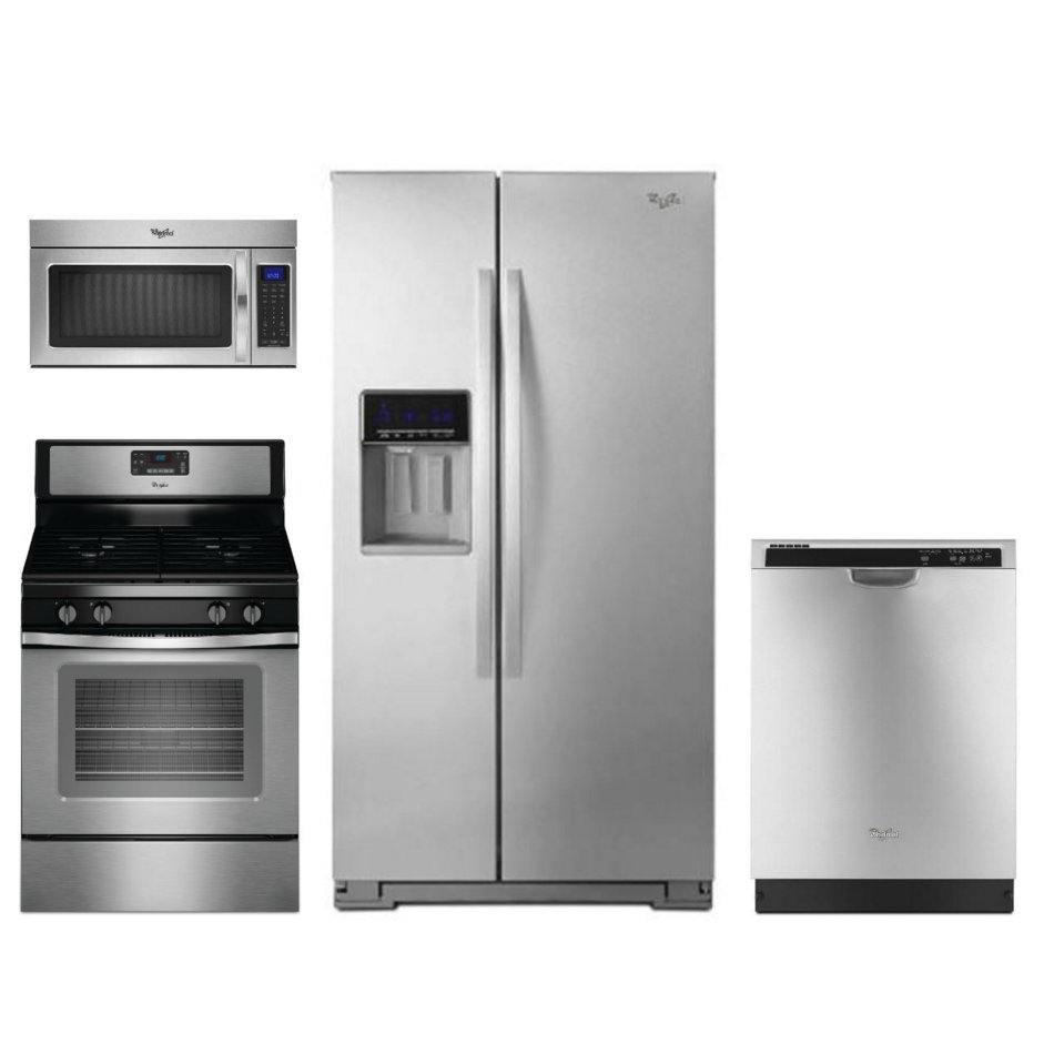 whirlpool 4 piece kitchen appliance package with 5 0 cu ft gas range stainless steel rc. Black Bedroom Furniture Sets. Home Design Ideas