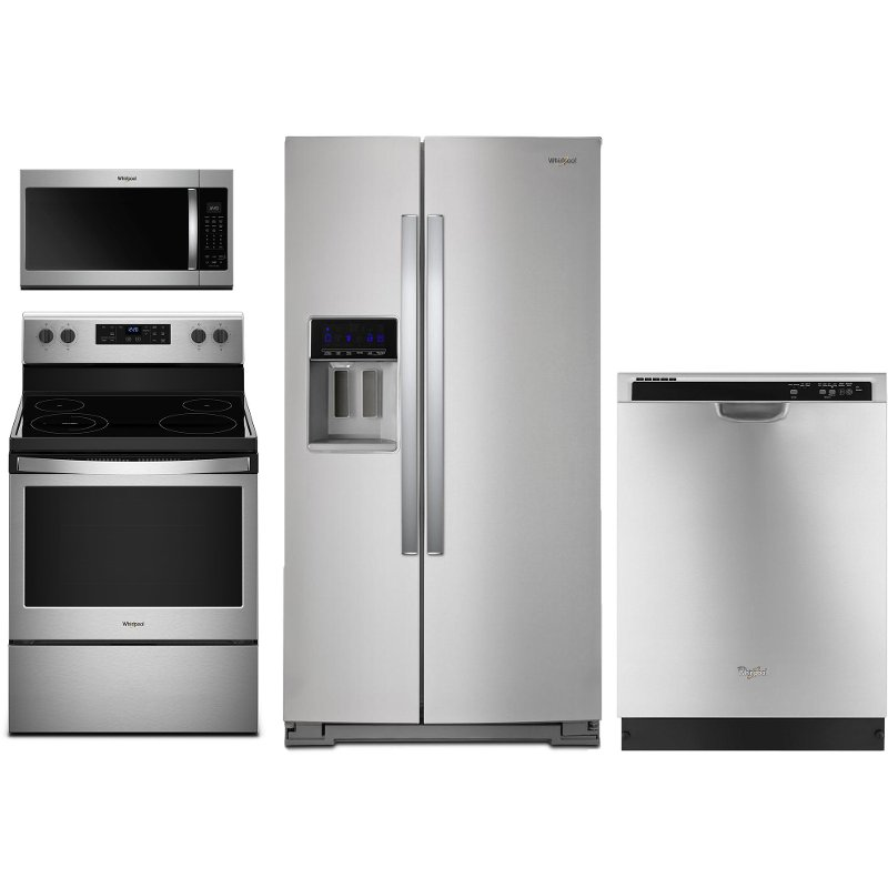 whirlpool 4 piece kitchen appliance package with electric range stainless steel rc willey. Black Bedroom Furniture Sets. Home Design Ideas