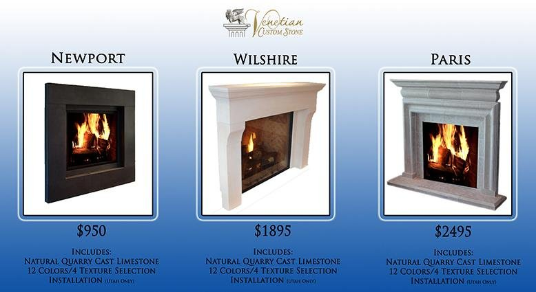 venetian custom stone fireplace