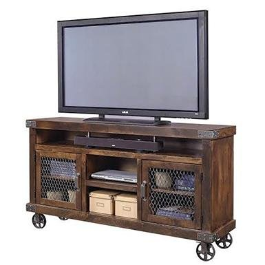 rustic wheels tv stand