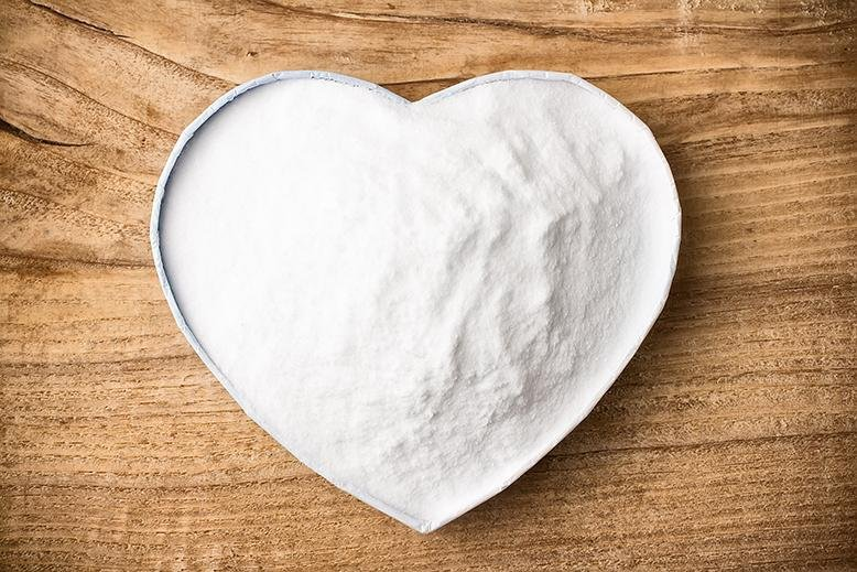 baking soda in a heart bowl