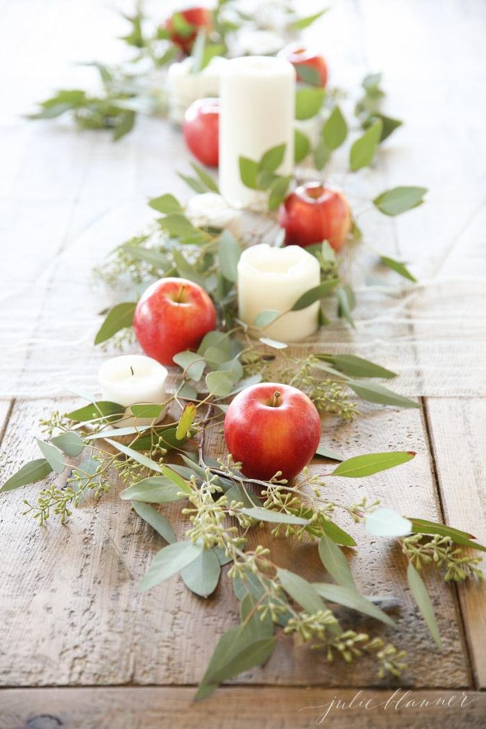 Apples and Candles Centerpiece