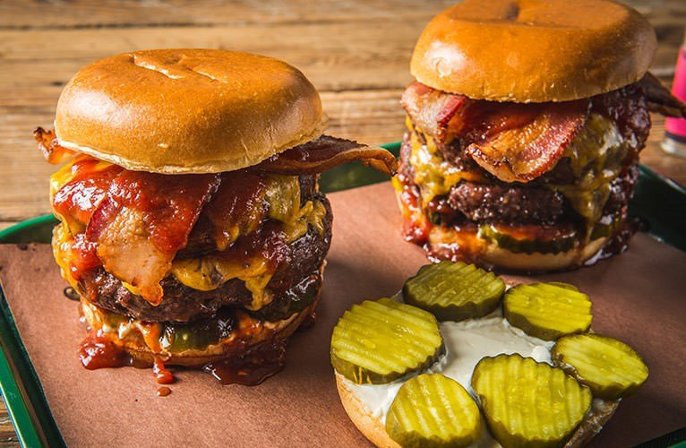 Grilled Double Burgers with Texas Spicy BBQ