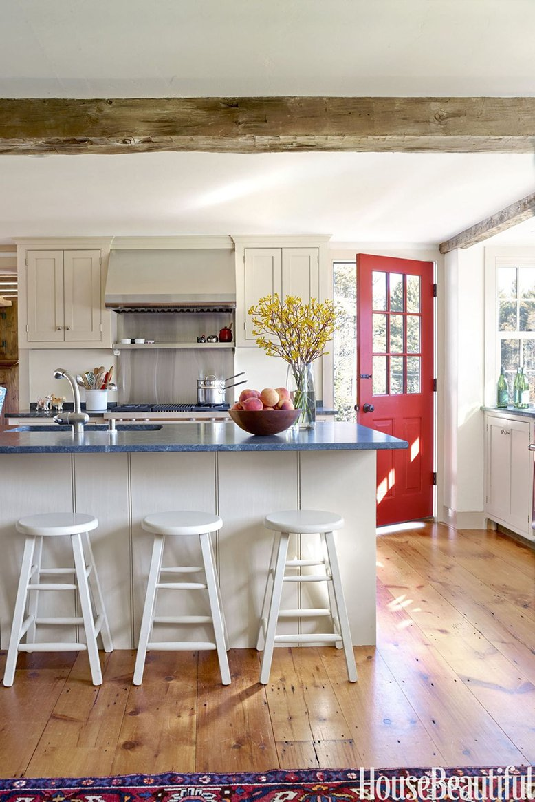 red kitchen door