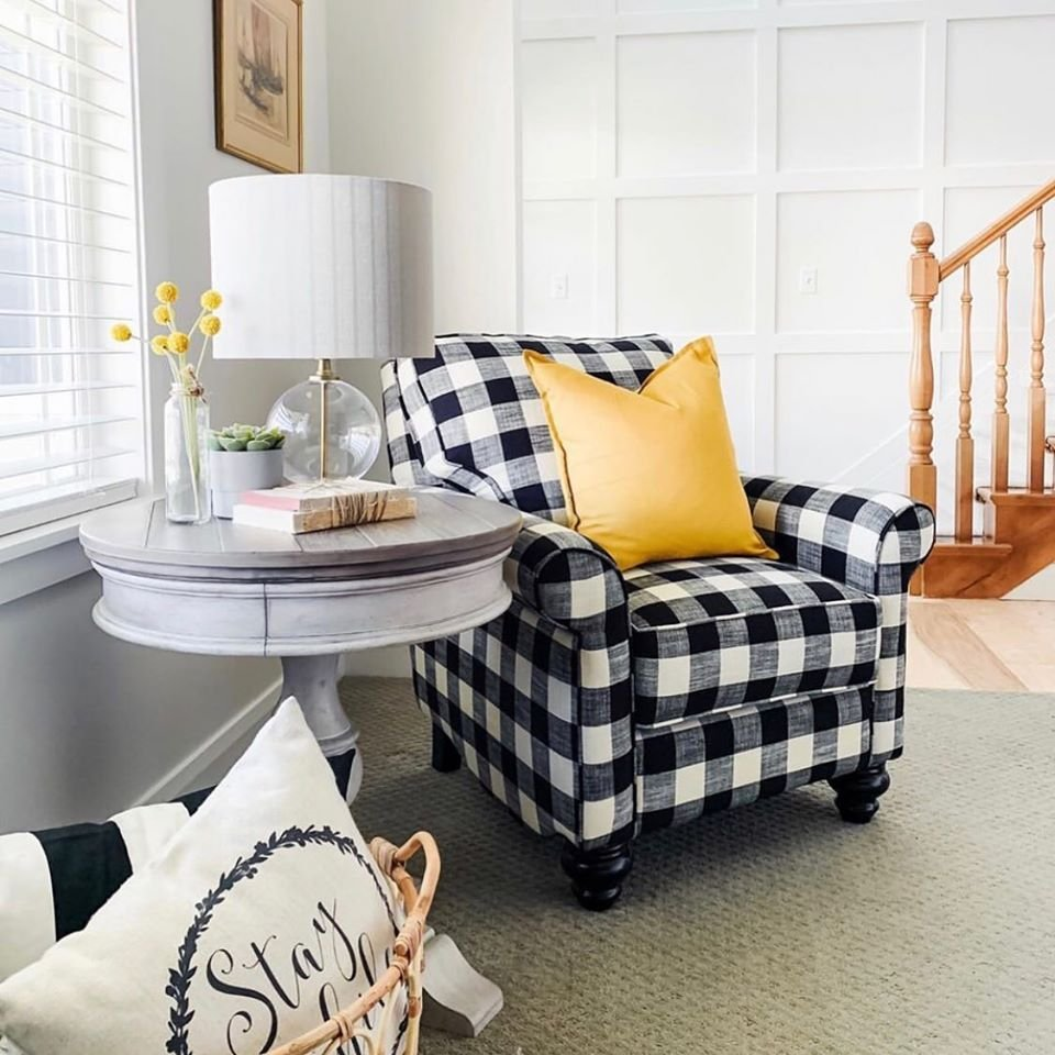 Farmhouse plaid accent chair