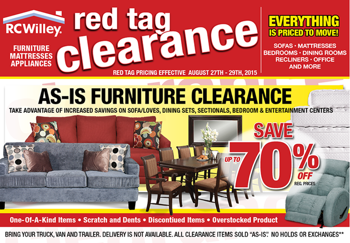 Red Tag Clearance Event Rc Willey