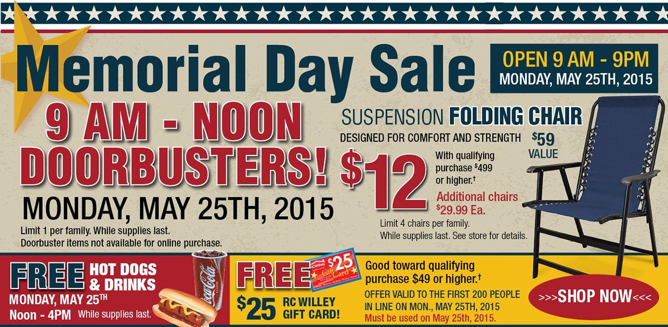 Memorial Day Doorbusters Rc Willey Furniture Store