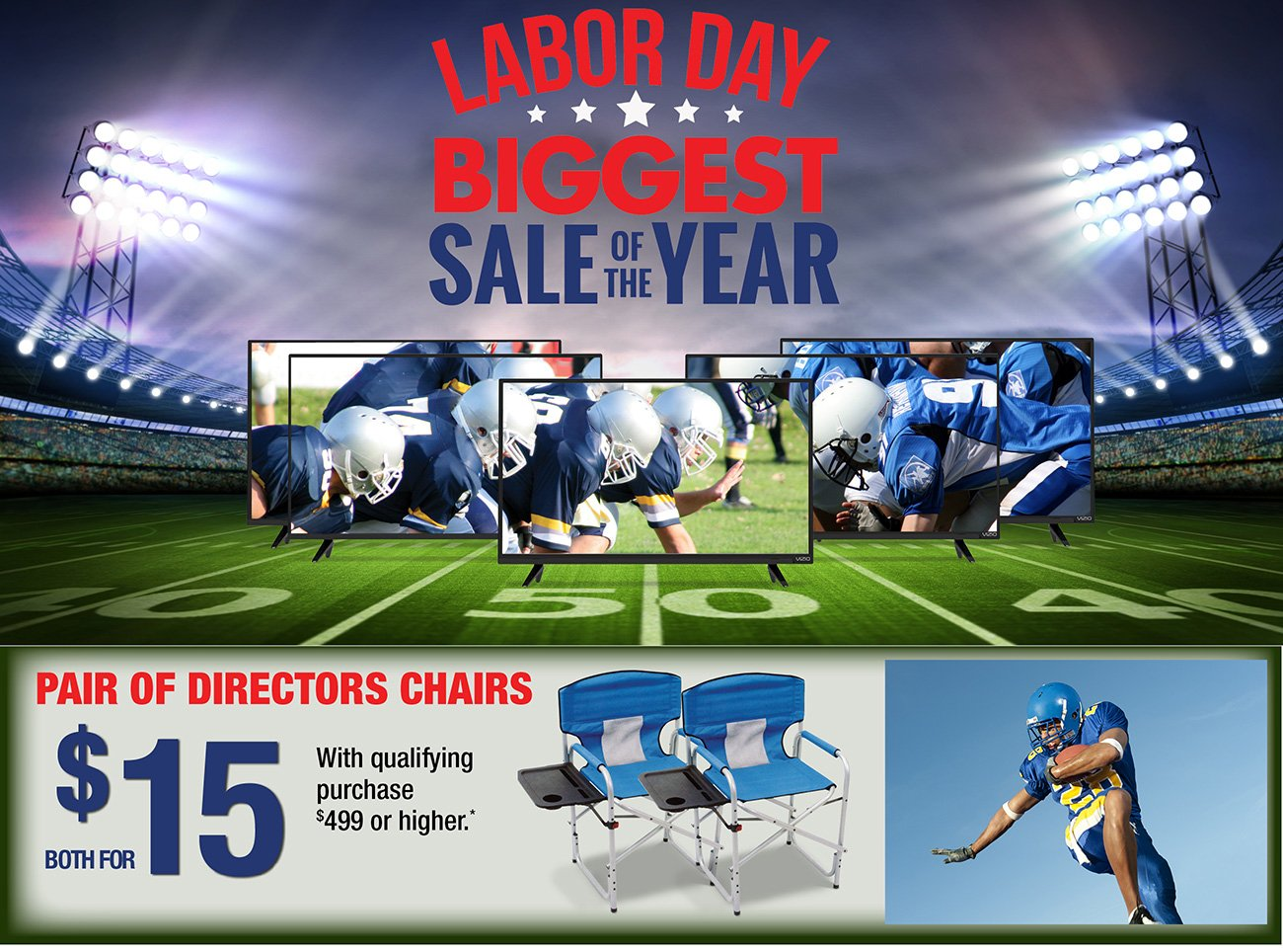 Kickoff Labor Day with Big Screens 2 Directors Chairs for ly $15