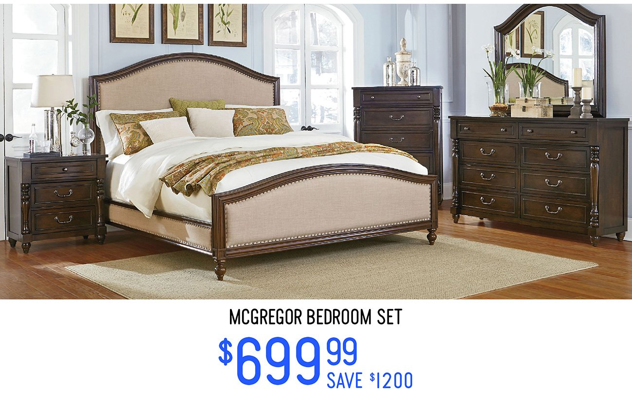 Big deals and mini prices today online only rc willey for Bedroom furniture set deals