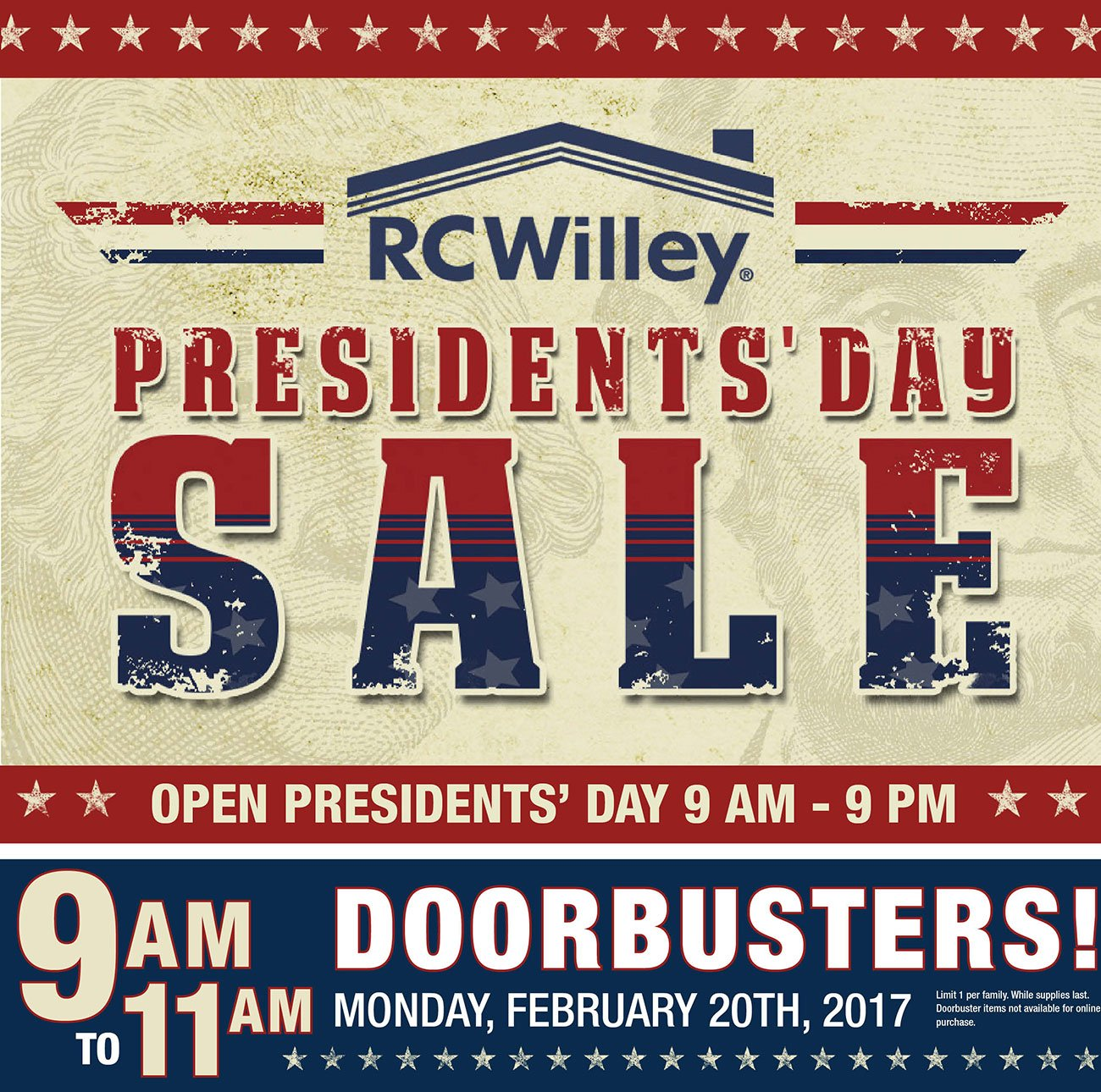 President 39 s day is here come in for great doorbustin for Presidents day furniture sales