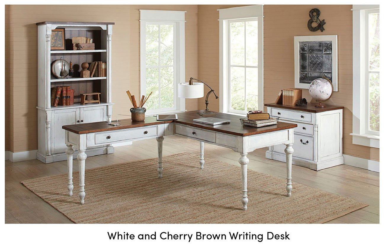 White-and-cherry-brown-writing-desk