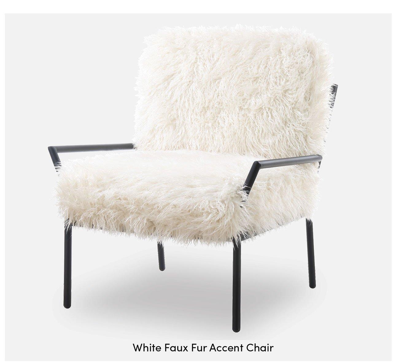 White-faux-fur-accent-chair