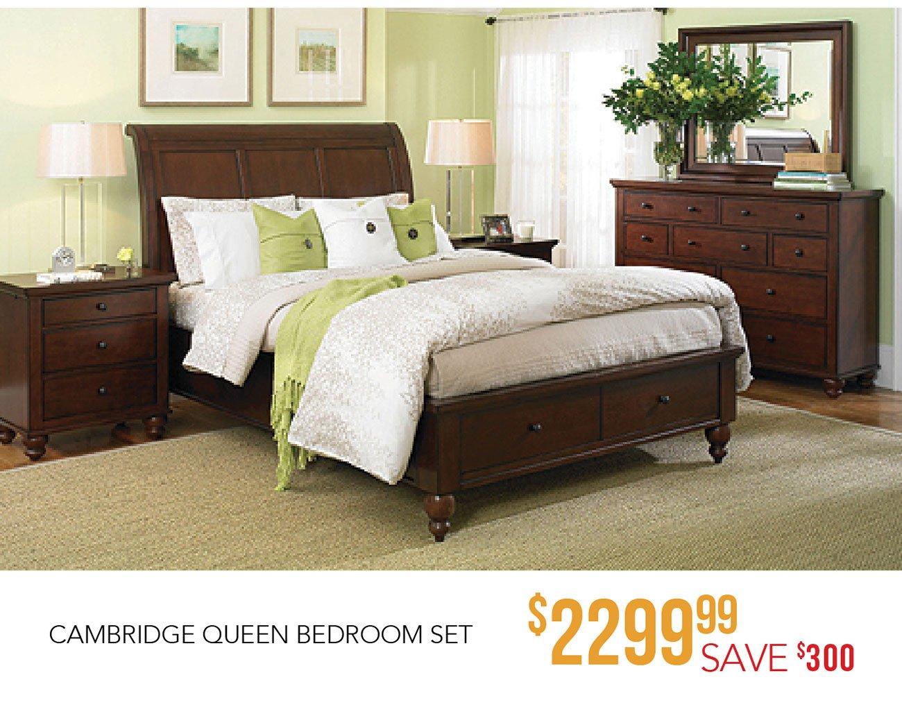 Brown Cherry Traditional 4 Piece Queen Bedroom Set   Cambridge | RC Willey  Furniture Store