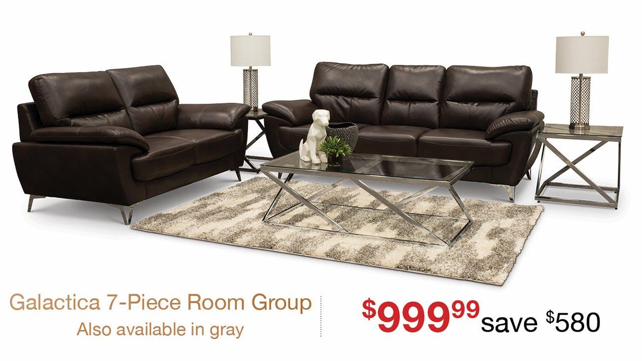 Contemporary Chocolate Brown 7 Piece Living Room Set - Galactica ...