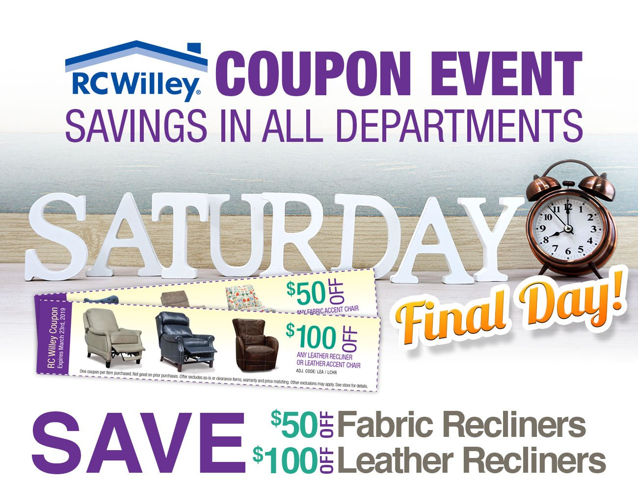 Save up to $100 on top of RC Willey's low prices on recliners during our Coupon Event