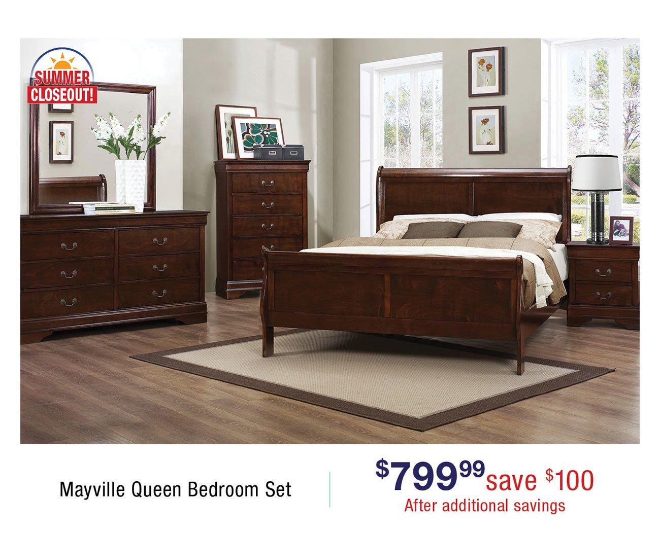 Traditional Brown Cherry 4 Piece Queen Bedroom Set ...