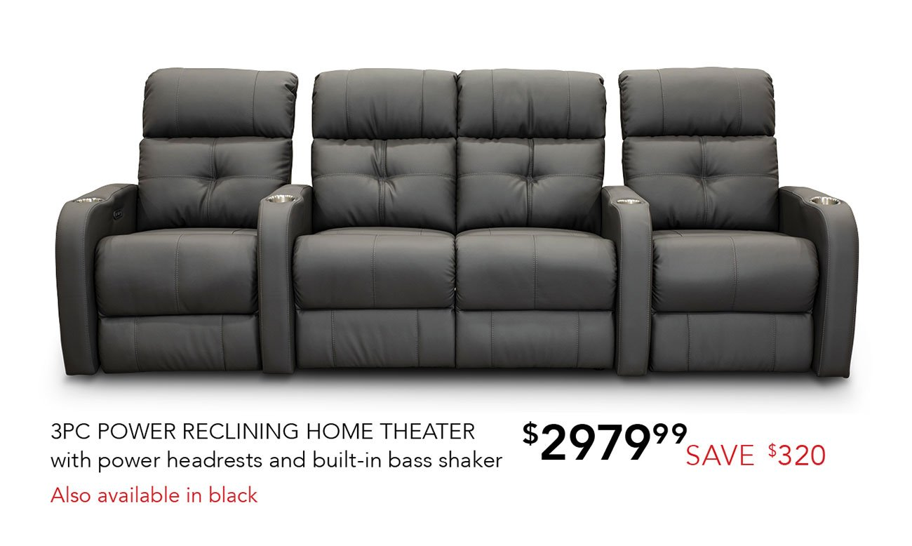Fabulous Gray 3 Piece Power Reclining Home Theater Seating With One Spiritservingveterans Wood Chair Design Ideas Spiritservingveteransorg