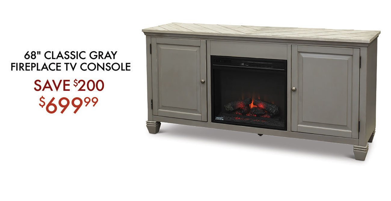 Classic-Gray-Fireplace-TV-Console
