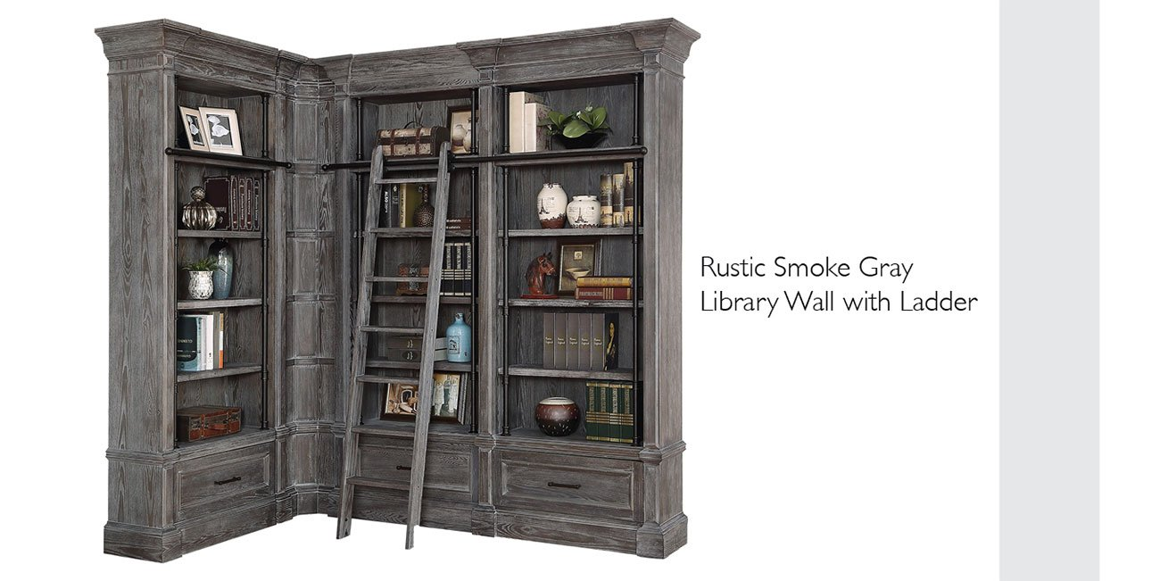 Rustic-smoke-gray-library-wall-with-ladder