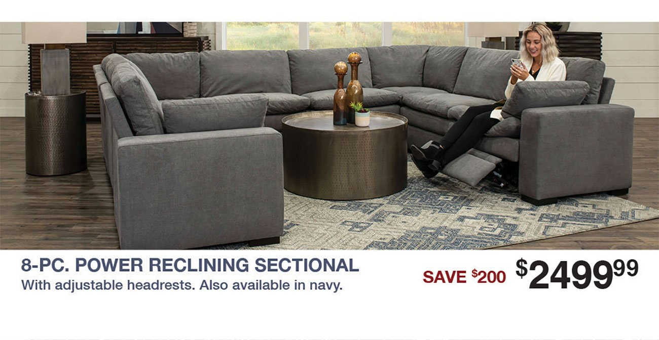 Infinity-8-Piece-Gray-Reclining-Sectional