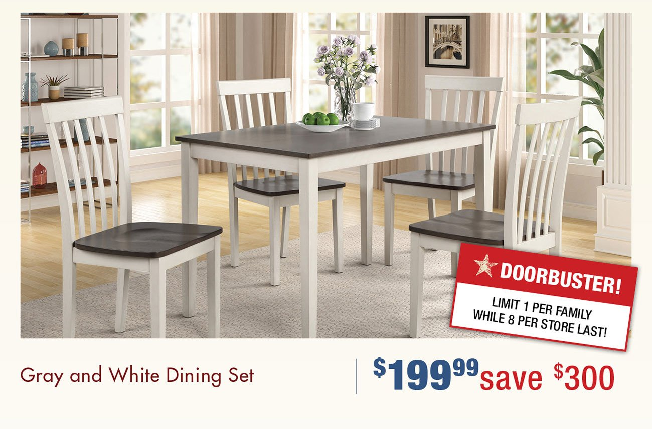 Gray-and-white-dining-set