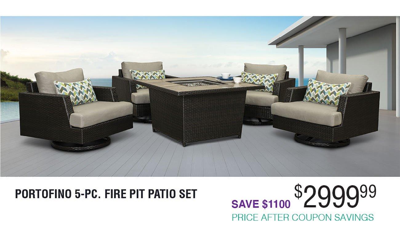 Portofino 5 Piece Fire Pit Group With Sunbrella Cushions Espresso Rc Willey Furniture Store