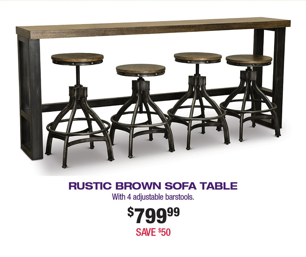 Picture of: Rustic Brown Sofa Bar Table And 4 Bar Stools Chandler Rc Willey Furniture Store