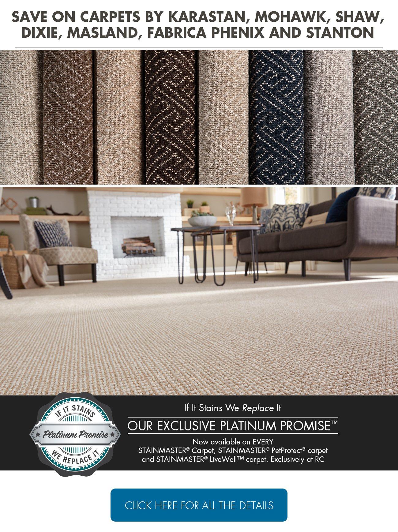 Save on carpets by Karastan, Mohawk, Shaw, Dixie, Masland, Fabrica Phenix and Stanton