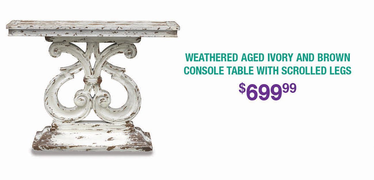 Weathered-Aged-Ivory-Console-Table
