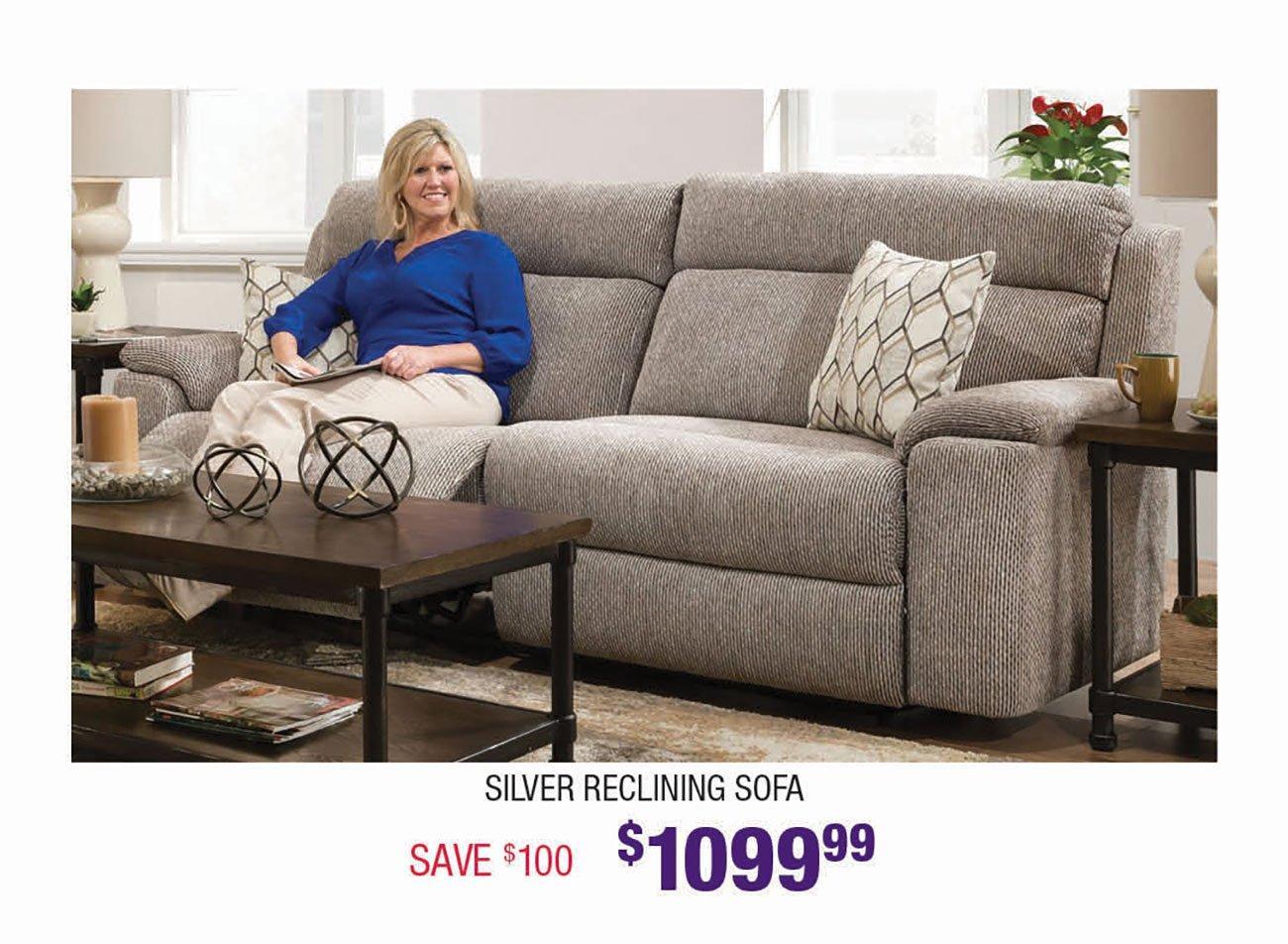 Silver-Reclining-Sofa