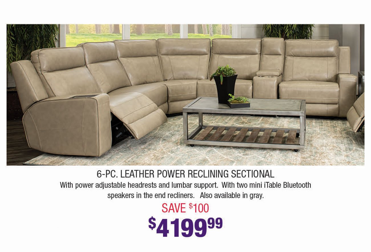 Beige-Leather-Power-Reclining-Sectional