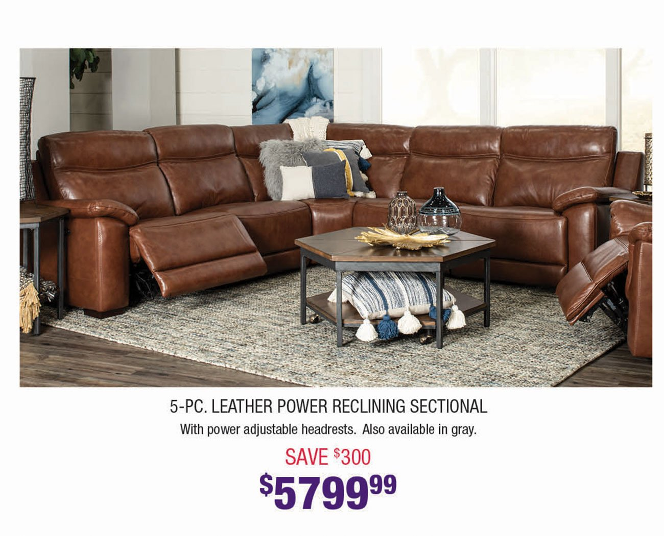 Brown-Leather-Power-Reclining-Sectional