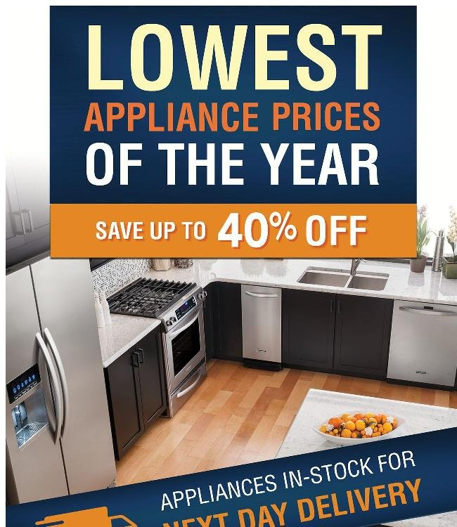 Save up to 40% off on the LOWEST Appliance Prices of the Year