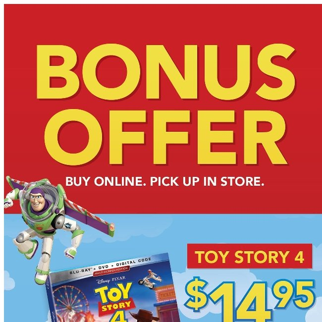 Toy Story 4 Blu-ray $14.95