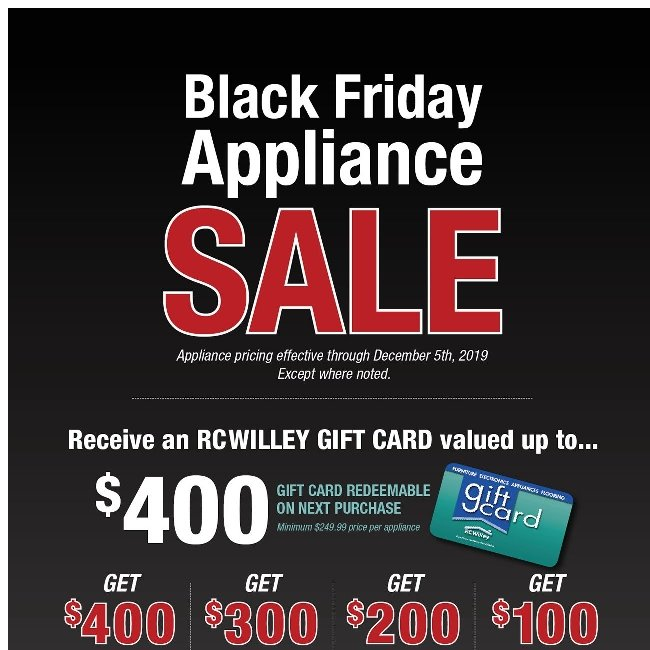 Black Friday Appliance Sale! Need We Say More?