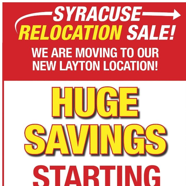 Save Up to 70% During Our Syracuse Relocation Sale!