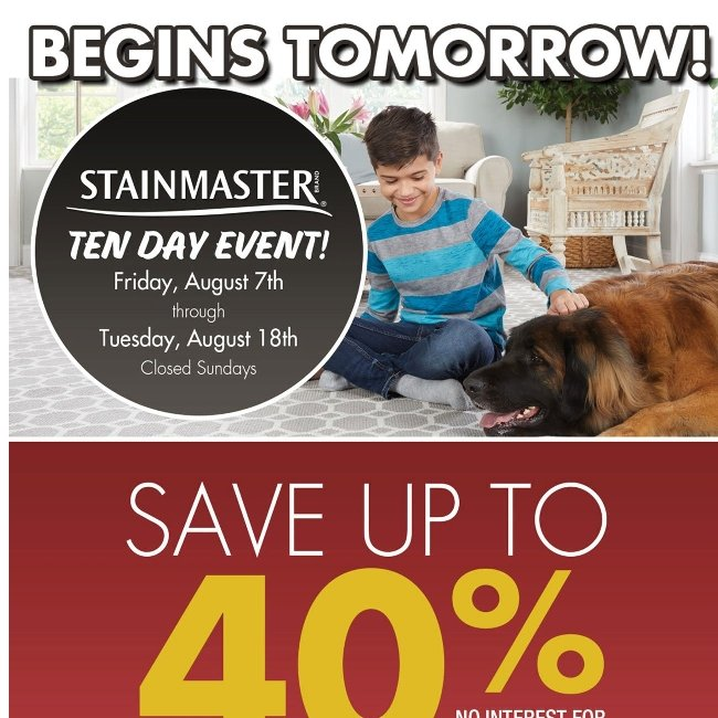 Save up to 40% During Our Stainmaster Event!