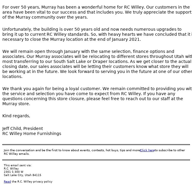 News Concerning Our Murray Store Location