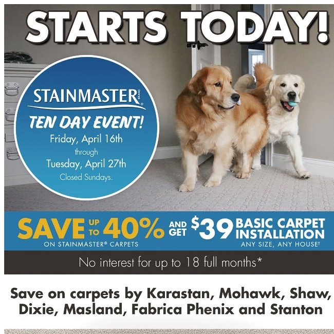 Stainmaster 10-Day Event Starts Today! Save up to 40% Now!