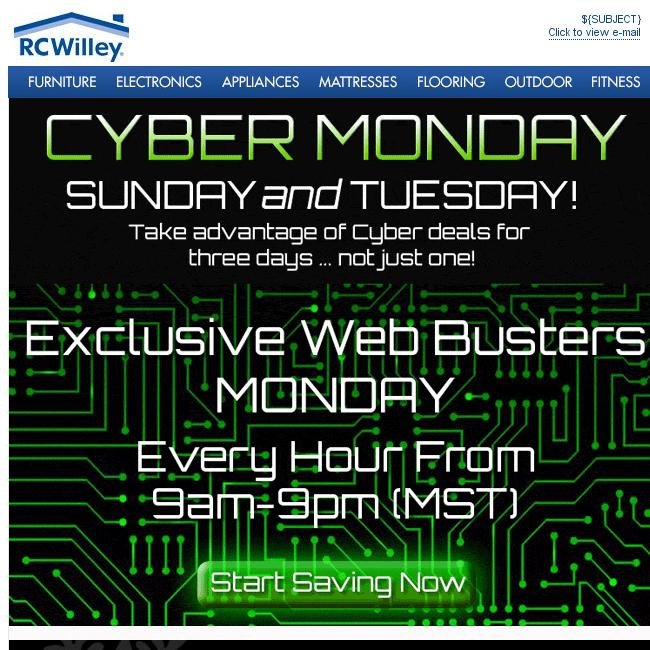 Rc Willey Salt Lake: Cyber Monday Deals Start Sunday ... Through Tuesday!