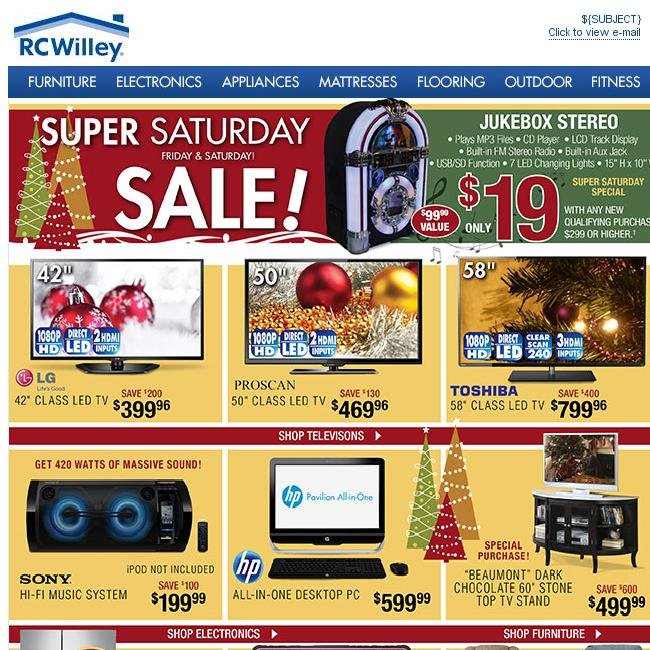 Rc Willey In Salt Lake City: Super Saturday Sale. Friday And Saturday!